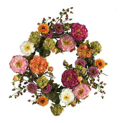 24-inch Peony Wreath - This is my kind of wreath, it's colorful and fun!