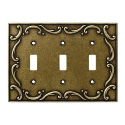 Liberty Hardware - Liberty Hardware 126350 French Lace WP Collection 6.78 Inch Switch Plate - Burni - The French Lace design communicates refined taste and cultivated style. It adds flavor and the appearance of elegant expression. The antique brass finish exudes warmth and the ambiance of sanctuary. Quality zinc die cast base material. Available in the 10 most popular wall plate configurations.. Width - 6.78 Inch,Height - 4.9 Inch,Projection - 0.3 Inch,Finish - Burnished Antique Brass,Weight - 0.74 Lbs