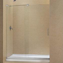 "DreamLine - DreamLine DL-6444C-04CL Mirage Shower Door & Base - DreamLine Mirage Frameless Sliding Shower Door and SlimLine 36"" by 60"" Single Threshold Shower Base Center Drain"