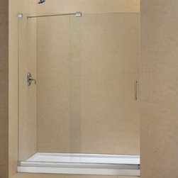 "DreamLine - DreamLine DL-6444C-04CL Mirage Shower Door & Base - DreamLine Mirage Frameless Sliding Shower Door and SlimLine 36"" by 60"" Single Threshold Shower Base Center Drain"