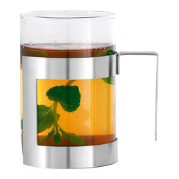 Blomus - Darjee Tea Glass - The Darjee Tea Glass mixes the look of a classic glass tea cup with the rugged modernism of stainless steel.  The two materials fuse to create a tasteful and contemporary sipping device.