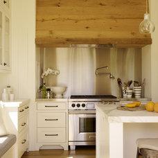 Contemporary Kitchen Oak boards range hood