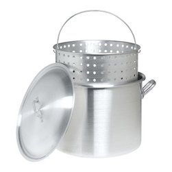 Barbour Int'L - 80Qt Stockpot Steamer/Basket - 99 percent pure restaurant grade aluminum. Full size perforated boiling basket with helper handle and vented lid.            Cap Qt=80
