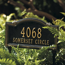 Somerset Arch Address Sign - Having an address sign not only adds a little kick to your garden, but it's quite functional as well. Many visitors have thanked me for having an additional sign out, as often times it's hard for them to see the address on the house all the way from the street.