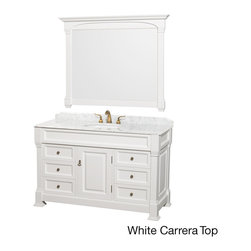 Wyndham Collection - Andover Single 55-inch White Bathroom Vanity and Mirror Set - This beautiful Andover bathroom vanity represents an updated take on traditional styling. A keystone piece,with strong,classic lines and an attention to detail,this single-sink vanity and mirror are crafted of solid oak with a smooth white finish.
