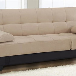 Lifestyle Solutions - Serta Dream Convertibles Sleeper Sofa - Tufted microfiber suede khaki upholstery. Durable construction. Wood frame and base. Sofa, lounger, chaise and bed seat functions. Underneath storage space. Warranty: One year parts replacement. Assembly required. Sofa: 72.4 in. L x 34.6 in. W x 33.9 in. H. Bed: 72.4 in. L x 42.9 in. W x 16.5 in. H. Overall weight: 107 lbs.