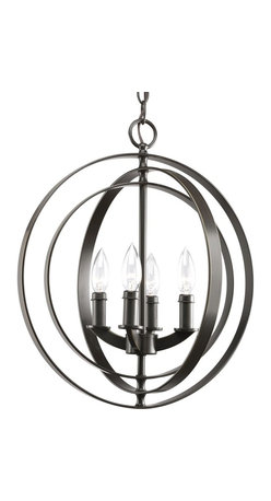 Thomasville Lighting - Thomasville Lighting Equinox Transitional Foyer Light X-02-7283P - The Progress Lighting Equinox pendant sports astronomical design and style! Taking inspiration from the ancient armillary sphere, this pendant boasts interlocking, pivoting rings that creates a visually stunning display that will never cease to entice your guests. Combine a number of pendants to create a fluid display over your dining areas, kitchen islands or even in your foyer to create a grand entrance! This 4 light sphere can even be wall mounted when installed using the accessory arm model #P8762.