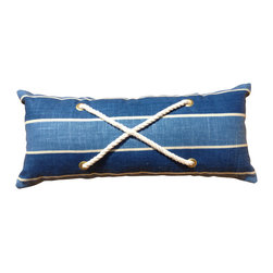 PillowFever - Lumbar Pillow Cover in Blue Stripes with Cotton Rope Accent - This beautiful pillow will compliment any beach house, nautical design will brighten up room with light and deep blue accent colors and cotton rope.