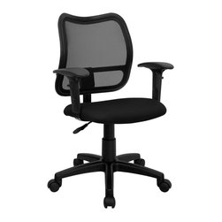Flash Furniture - Mid-back Mesh Task Chair with Black Fabric Seat and Arms - If you're in need of a comfortable chair with a breathable mesh back this is the chair. The modern design of the back will add a contemporary look to your office space. This chair is height adjustable to adapt to your working environment.