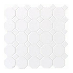 White Ceramic Octagon Dot Mosaic Tile - I put this tile in the laundry room, but I love it so much that I want to put it in the guest bathroom. I want to use a light gray grout with it.