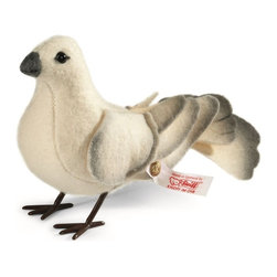 """Steiff - Steiff Dove Bird - The dove is a highly symbolic creature: in the first Book of Moses, the bird of peace tells of the end of the flood - in the Gospel according to Mark, it embodies the Holy Spirit. Which means that the dove fits extremely well with the Christmas season - a time when people think of one another and maybe even find a little more time for each other. As the Christmas song goes: """"Peace on earth, goodwill to men..."""". The dove from our Christmas collection is a limited edition of 1,500. Measuring 9 cm, her decorative plumage is made of wool-white wool felt. Standing securely on elaborately crafted metal feet, the gentle curve of her tail feathers show that she has just arrived in her new nest.  Ages 12 and up. Handmade by Steiff in Germany and limited to only 1,500 pieces."""