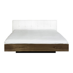 Float King Size Bed with Upholstered Headboard