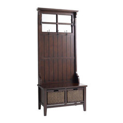 Alcott Hall Tree Brown Maintain Order In Your Entryway With This Wooden Storage Piece Add