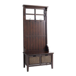 Alcott Hall Tree, Brown - Maintain order in your entryway with this wooden storage piece. Add your personal touch with a pillow in your favorite fabric on the seat.