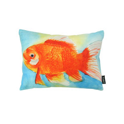 Lava - Watercolor Goldfish 16 x 12 Pillow (Indoor/Outdoor) - 100% polyester cover and fill. Backed with another lava print, this pillow is truly reversible. Made in USA. Spot clean only. Safe for use indoors or out.