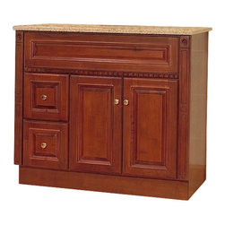 """JSI - JSI Newport Birch Bathroom Vanity Base Cherry 36"""" Wood Frame, Left Hand Drawers - PLEASE NOTE: Sale is for vanity cabinet only - Faucet, top, and sink are not included."""