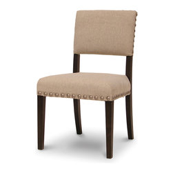 Palecek - Surrey Side Chair, Ecru Linen - Plantation hardwood frame and legs. Fully upholstered in linen blend. Edged with large silver nail heads. Available only as shown.