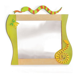 "Room Magic - Little Lizard Wall Mirror - Frogs and snakes animate this beautifully crafted mirror, made of birch veneers finished in brightly colored stains. 24""L, 33""H"