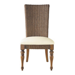 Stanley-Coastal Living - Woven Side Chair - Proudly enjoy dinner parties with family and friends while seated in the gorgeous Woven Side Chair from Stanley. The subtle give of the tightly woven chair-back is a brilliant foil to the ultra-plush Super Comfort seat, which is covered in creamy neutral upholstery. Perfect for both casual and formal dining, this side chair offers great functionality, pairing perfectly with a desk in a home office. With warm wood and wicker tones, you can't help but be drawn to this chair's unique allure!