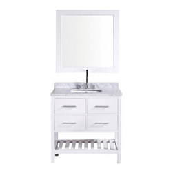 "Design Element Co. - 36.5 Inch Modern Single Sink Bathroom Vanity, Pure White, 36.5 Inch Single Sink - The 36"" Londonrectangular-sink vanityin white is elegantly constructed of solid hardwood. The classic beauty of the white Carrera marble countertopand contemporary style of the whitecabinetry bring a sophisticated and clean look to any bathroom. Seated at the base of the ceramic under-mount sink is a chrome finish pop-up drain, designed for easy one-touch draining. A matching framed mirror is included. This beautiful vanity includes two pullout drawers and two pull-down shelves, all accented with satin nickel hardware.There is an additional open storage shelf at the bottom of the vanity. The London Bathroom Vanity is designed as a centerpiece to awe and inspire the eye without sacrificing quality, functionality, or durability. Dimensions: 36.5""W X 22""D X 35""H (Tolerance: +/- 1/4""); Counter Top: White Carrera Marble; Finish: Pure White; Features: 2 Drawers, 2 Pull Down Shelves; Hardware: Satin Nickel; Sink(s): 16.5"" X 12"" X 7"" Undermount White Ceramic; Faucet: Pre-Drilled for Standard Three Hole 8"" Center (Not Included); Assembly: Light Assembly Required; Large cut out in back for plumbing; Included: Cabinet, Sink, Chrome Pop Up Drain, Mirror; Not Included: Faucet, Backsplash, Linen Cabinet (18""W X 18""D X 66""H)"