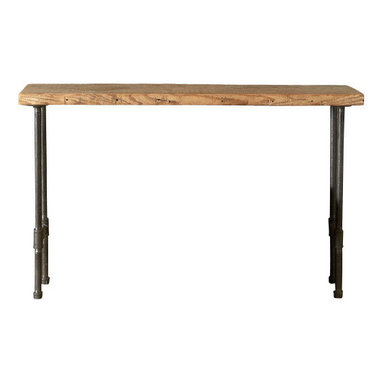 "Urban Wood Goods - Modern Industry Reclaimed Wood Console Table - Thick, 84"" x 11.5"" - Industrial inspired style in a table you can adjust to any size you prefer for your kitchen, dining room, for serving wine and cheese or just setting down your mail and keys. Use as a sofa table or hallway entry table. This charming, elegant but rustic table is created by skilled artisans out of a salvaged floor joist from a deconstructed barn, home or other structure in the Chicago metro area and midwestern states."