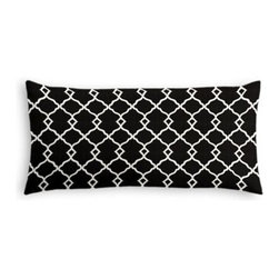 Black Classic Trellis Custom Lumbar Pillow - The perfect solo statement on a modern chair or bed, the rectangular lines of the Simple Lumbar Pillow are effortlessly chic. We love it in this small classic cream trellis on flooded black cotton sateen.