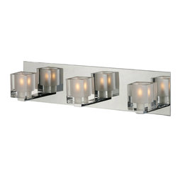 ET2 Lighting - Blocs 3-Light Bath Vanity - A boxed set: These three cube lights line up against a perfectly reflective rectangle of polished chrome to offer you double the illumination and a singularly stunning effect.
