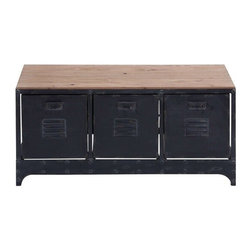 "Benzara - Wood Metal Storage Bench 39""W - Wood Metal Storage Bench 39""W, 19""H Handcrafted Accent Furniture. Some assembly may be required."