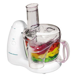 Hamilton Beach - Food Processor 8 Cup - This Hamilton Beach PrepStar Food Processor has a continuous feed chute and oil dispenser. It has a 350 Watt motor and two speeds plus pulse. It provides in-bowl storage and the bowl, lid and blades are dishwasher safe.