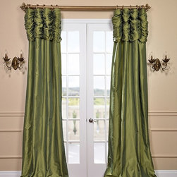 Fern Ruched Faux Solid Taffeta Curtain - We've taken our popular Faux Silk Taffeta panels and added a ruched header valance creating the most luxurious, over the top style in window treatments out there. This style was designed and meant to be stationary and used as decorative panels to frame out your window.