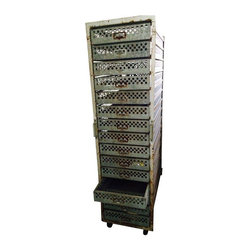 Pre-owned Antique Chick Warmer Industrial Cabinet - This vintage industrial chick warmer was previously used to hatch chicken eggs. How chic(k)! It features 15 drawers, perfect for storing a variety of items from office supplies to kitchen utensils. The drawers are deep and slide open easily, and the cabinet sits atop large metal casters so that you can easily roll this from room to room.