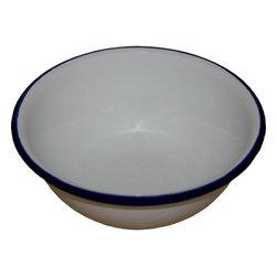 "Crow Canyon Home - Vintage-Style Enamelware Cereal Bowl, Vintage White with Blue Rim - Vintage Enamelware Plate - Cereal Bowl V17 6"""