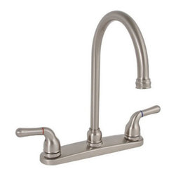 Premier Faucet - Premier Sanibel  Gooseneck Spout Kitchen Faucet  Brushed Nickel - Lead Free - 120197LF Features: -Two-handle kitchen sink faucet.-With Matching Spray.-Dependable ceramic disc technology with 1/4 turn operation.-2.2 Gallons per minute.-0.5'' IPS connection.-Complies with the requirements of the Uniform Plumbing Code.-Certified to meet the strict lead-free standards of California and Vermont. Construction: -Lead-free brass construction.
