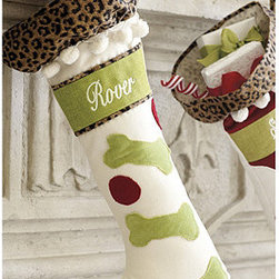 Ballard Designs - Personalized Christmas Stockings - Great affordable gift. Lots of combinations. Made in the USA. Dry Clean only. We have the most fashionable collection of Christmas stockings south of the North Pole. The vintage, boot-cut silhouette is hand appliqued with festive shapes and trimmed with whimsical pom-poms and our signature leopard ruffle cuff. Personalized Stockings features:  . . . . *Monogramming available for an additional charge.*Allow 3 to 5 days for monogramming plus shipping time.*Please note that personalized items are non-returnable.