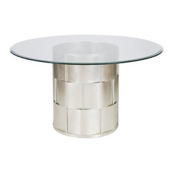 "Worlds Away - Worlds Away Amanda Silver Leafed Dining Table, 48""Dia - Worlds Away Amanda Silver Leafed 48"" diameter dining table"