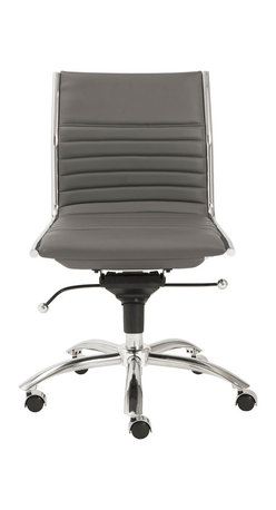 Eurostyle - Dirk Low Back Office Chair without Arms-Gray/Chrome - Leatherette over foam seat and back