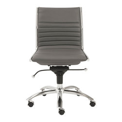 Eurostyle - Dirk Low Back Office Chair W/O Arms-Gry/Chrm - Leatherette over foam seat and back