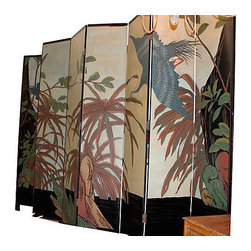 "Consigned 8 Panel Folding Screen - Amazing 8 panel folding screen, each panel is 18"", with detailed trees and birds on one side and cranes and bamboo detail on opposite side."