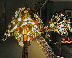 """""""Tour de Eiffel"""" Original Sea Glass Table Lamp - The antique column, made in Italy, is hand-carved in the Greek Ionic architectural style, highlighting the ornamental scrolls."""