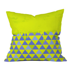 DENY Designs - Jacqueline Maldonado Triangle Dip Lime Throw Pillow - Wanna transform a serious room into a fun, inviting space? Looking to complete a room full of solids with a unique print? Need to add a pop of color to your dull, lackluster space? Accomplish all of the above with one simple, yet powerful home accessory we like to call the DENY throw pillow collection! Custom printed in the USA for every order.