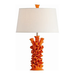 Arteriors - Cassidy Orange Lamp - Designed to evoke the natural realms, this table lamp brings an organic touch to your decor. Hand-formed ceramic in tubular shapes and a brilliant orange hue recall a coral reef.