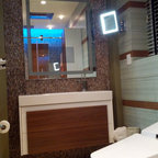 Old City Showroom - This is a functional bathroom we had made in our new Old City Philadelphia Showroom so that clients may come in and test out the bathroom. It has body sprays, a fully integrated toilet with bidet features, state of the art LED Rain shower head recess mounted into the ceiling,