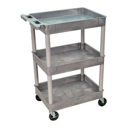 """Luxor - Luxor Tub Cart - STC111-G - These Luxor STC series utility carts are made of high density polyethylene structural foam molded plastic shelves and legs that won't stain, scratch, dent or rust. Features a retaining lip around the back and sides of flat shelves. Includes four heavy duty 4"""" casters, two with brake. Has a push handle molded into the top shelf."""