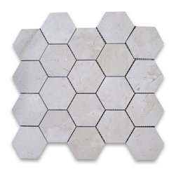 "Stone Center Corp - Spanish Crema Marfil Marble Hexagon Mosaic Tile 3 inch Polished - Crema Marfil Marble 3"" (from point to point) hexagon pieces mounted on a sturdy mesh tile sheet"