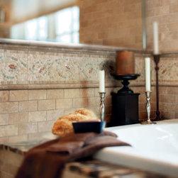 Bathrooms - Crossville Modern Mythology S007 6 x 12 Flower Border, S007 1 x 12 Half Round, S007 2 x 12 Chair Rail