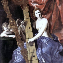 """Giovanni Lanfranco Venus Playing the Harp (Allegory of Music)  Print - 16"""" x 24"""" Giovanni Lanfranco Venus Playing the Harp (Allegory of Music) premium archival print reproduced to meet museum quality standards. Our museum quality archival prints are produced using high-precision print technology for a more accurate reproduction printed on high quality, heavyweight matte presentation paper with fade-resistant, archival inks. Our progressive business model allows us to offer works of art to you at the best wholesale pricing, significantly less than art gallery prices, affordable to all. This line of artwork is produced with extra white border space (if you choose to have it framed, for your framer to work with to frame properly or utilize a larger mat and/or frame).  We present a comprehensive collection of exceptional art reproductions byGiovanni Lanfranco."""