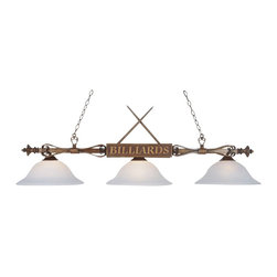 """Elk Lighting - Elk Lighting Gameroom Traditional Kitchen Island / Billiard Light X-1G-DW-491 - This Landmark Lighting Gameroom traditional kitchen island/billiard light has a lot of style and charater. Three cone-shaped, white faux-alabaster glass shades hang from a frame with a wood patina finish and decorated with cue sticks and a """"billiards"""" sign. It's a fun piece that makes decorating effortless."""