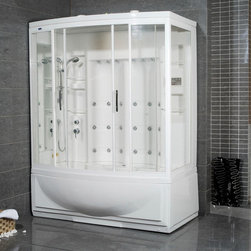 "Atlas International - Ariel ZA210 Left Steam Shower with Tub - Ariel ZA210 Left Steam Shower with tub 68x42x87; ETL listed (US & Canada electrical safety) 110v; Computer control panel with timer; Steam sauna with thermostatic control; Whirlpool massage jets; Acupuncture body massage jets; Multifunctional handheld showerhead; Temperature setting/display; Aromatherapy (scented oils); Ventilation fan; Ceiling light; FM radio, external CD/MP3 player connection; 2 built-in seats; Weight: 530 lbs; Dimensions: 68""L x 42""W x 87""H"