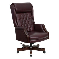 Flash Furniture - Flash Furniture High Back Traditional Burgundy Leather Executive Office Chair - This Tufted High back Executive Office chair combines old world craftsmanship with 21st century ergonomic seating principles, giving you a chair that feels as good as it looks. It redefines traditional elegance with its softer edges, subtle styling, and amazing comfort. [KC-C696TG-GG]