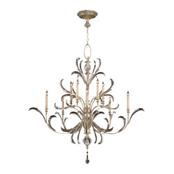 Fine Art Lamps - Beveled Arcs Chandelier, 701340ST - Gracefully curved lines and beveled crystal leaves lend an art nouveau romance to this exceptional candelabra chandelier. The muted silver-leaf finish is warm and subtle, picking up the soft glow of the (electric) candlelight while letting the crystals sparkle most brightly.